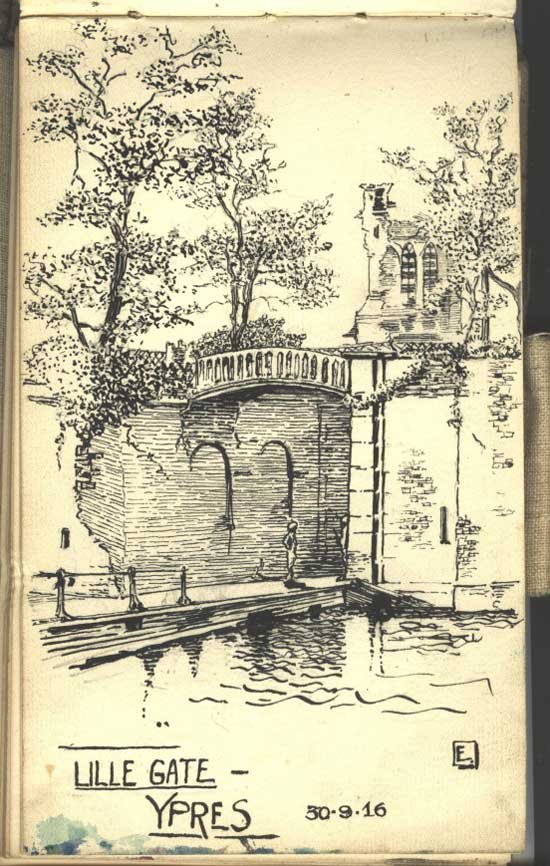 The Lille Gate in Ypres, and fairly typical of Keith's pen work.