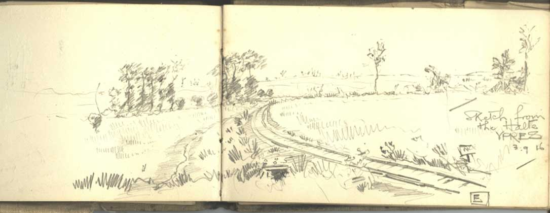A small pencil sketch. The cover and depth of the pokcet book can be clearly seen.
