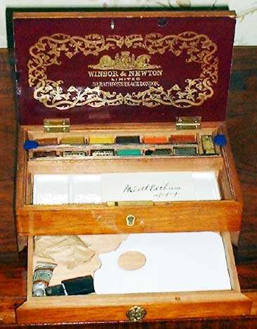 Travelling paint box used by Keith Eltham, made in London and including his name card.