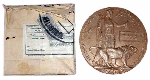 These death plaques or medallions were supplied to the family of every deceased serviceman during the early 1920s. This still has its original packing. They were popularly known as the 'deadman's penny'.