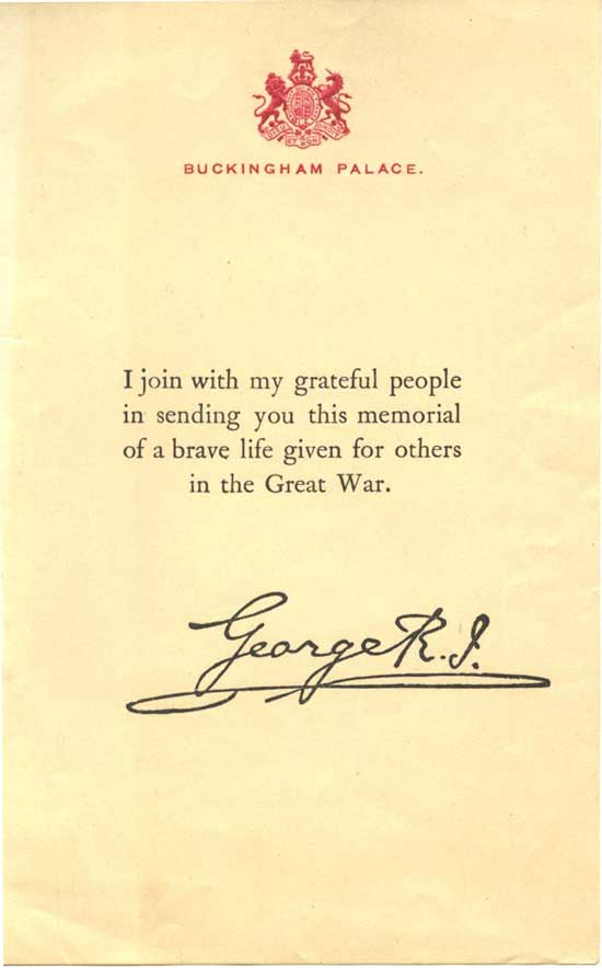 The standard certificate of condolence from the King.