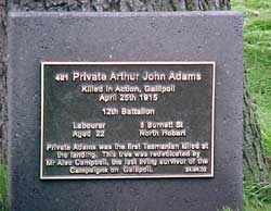 Plaque for Private Adams.