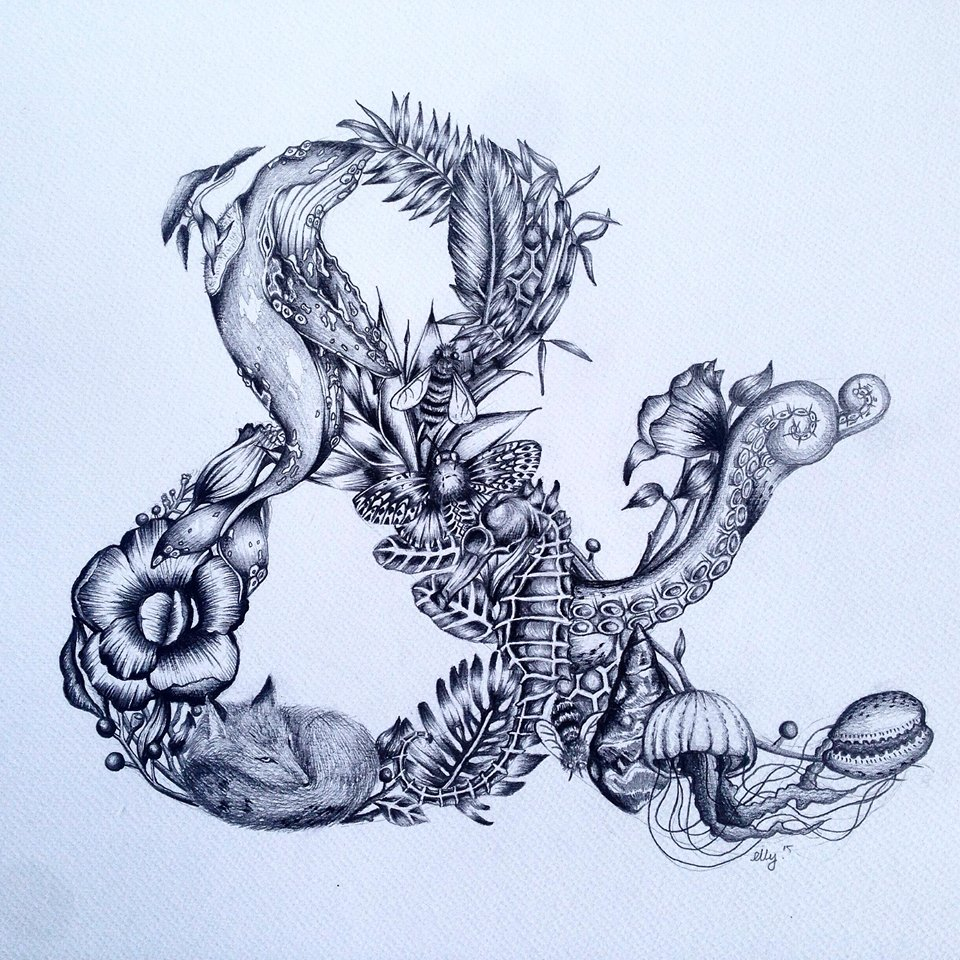 ORGANIC AMPERSAND -  Pencil on paper