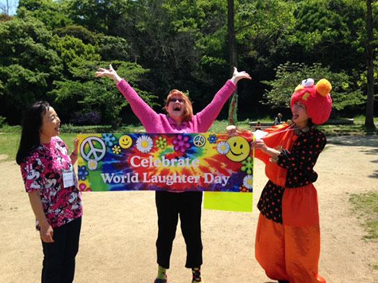 Teena Teaching Laughter Yoga in Akashi, Japan