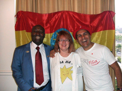 Sustained Laughter World Record holder Bellachew and Luis Gomez