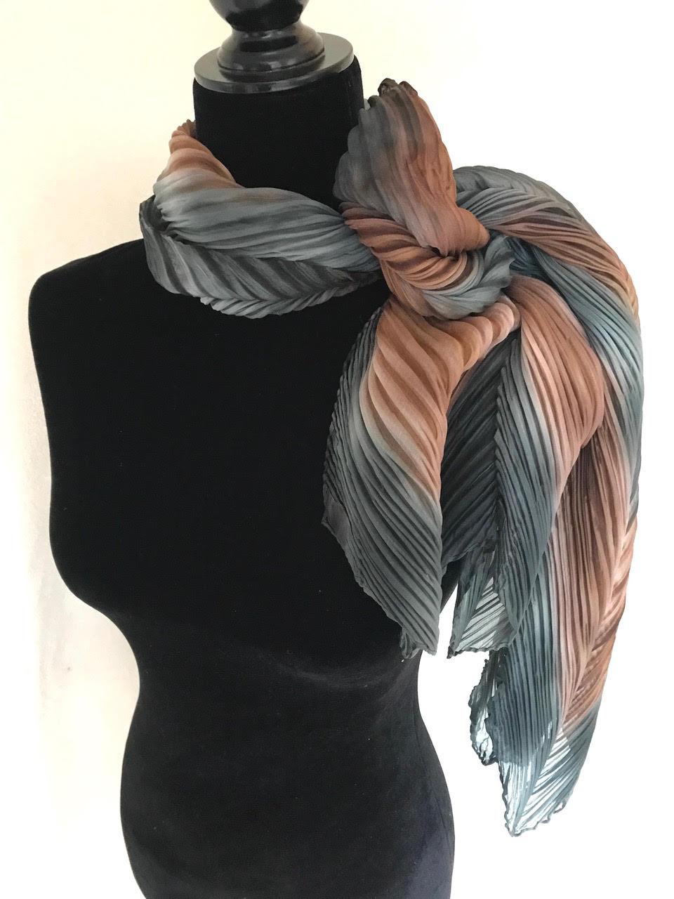 Arashi Shibori Pleated Silk Scarves