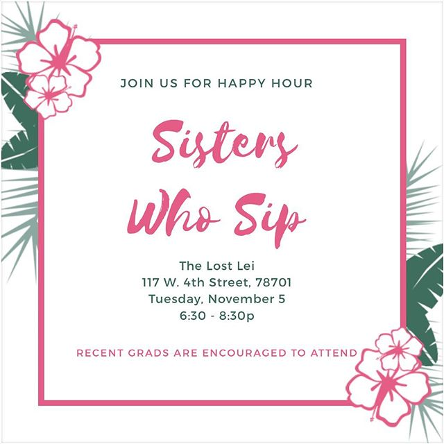Austin ZTAs! Tag your New Grad zisters in the comments 👇🏼 and let's meet up for drinks at the Lost Lei 🌺🍹