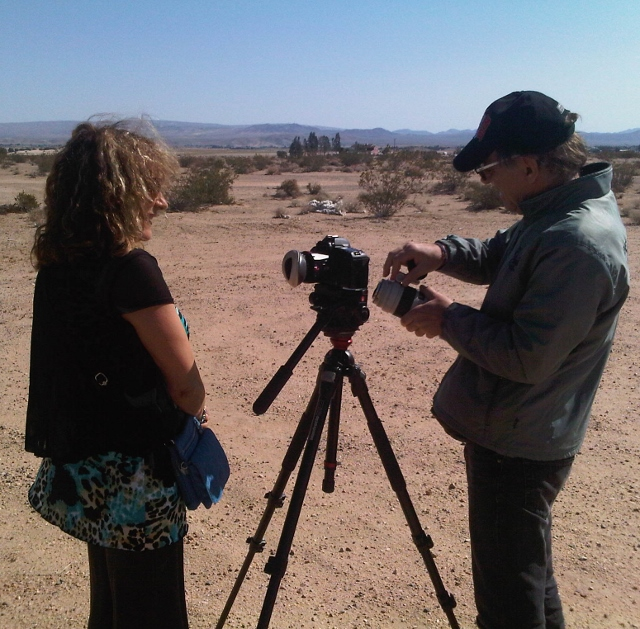 Michka Saäl and Sylvestre Guidi on location in the Mohave desert.