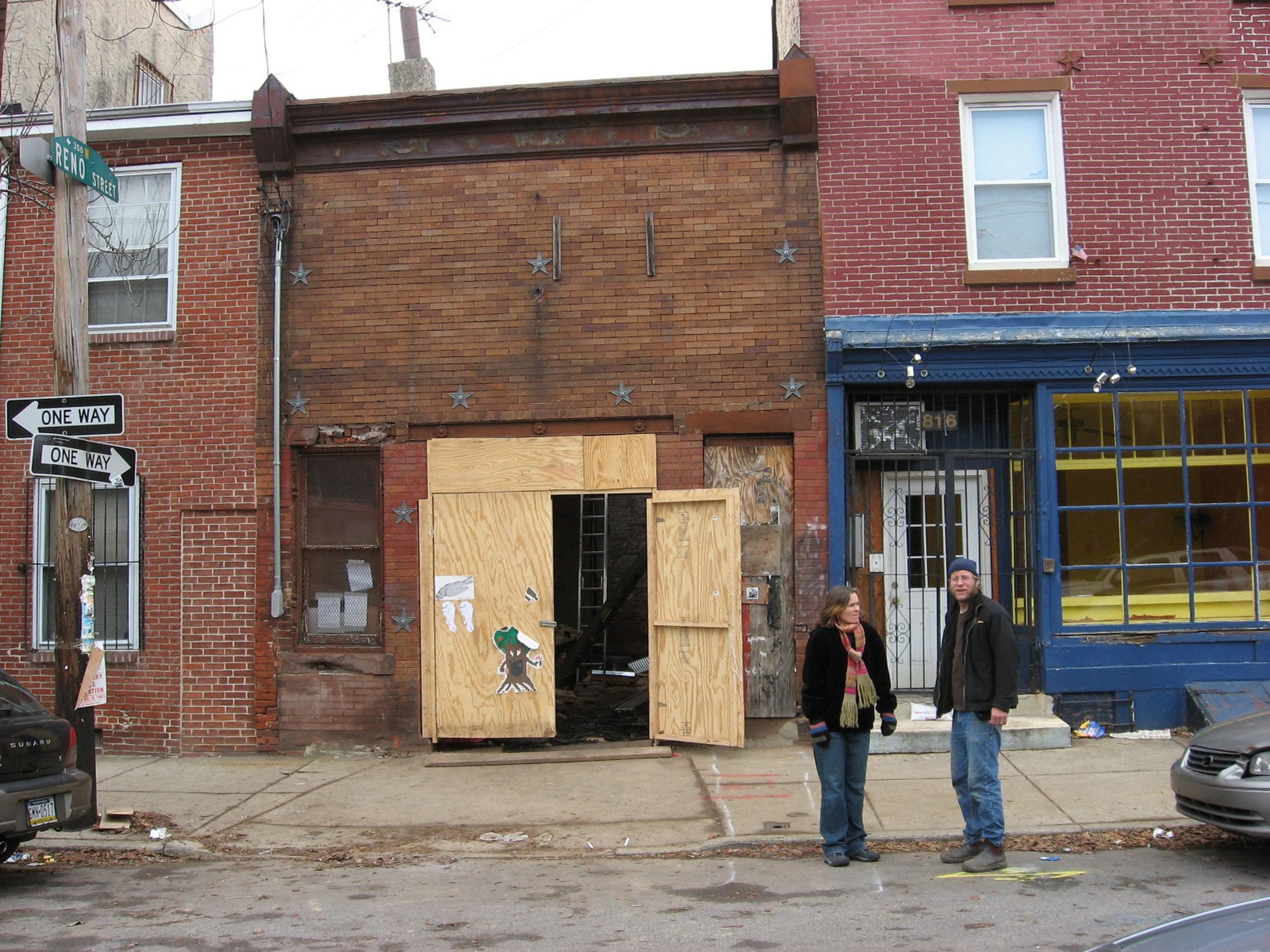 Peter and Mary in front of  814 North 4th Street in 2006.   The building on the right is Latte Lounge, soon to be Cafe LeMaude.