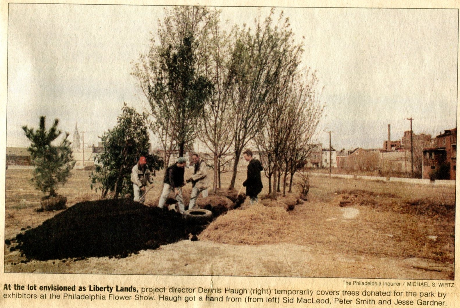 Planting the first trees in Liberty Lands circa 1997