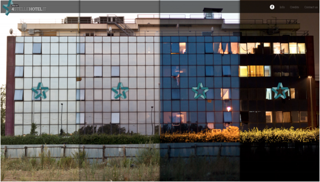 Figure 6: Navigation via four different panels, each representing one part of the day—morning, afternoon, evening, night—in  4 Stelle Hotel  (Valerio Muscella and Paolo Palermo, 2014). Screenshot.