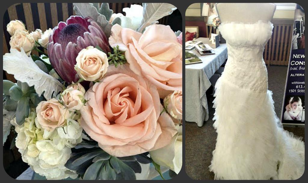 floral arrangements and a bride dress at a wedding show