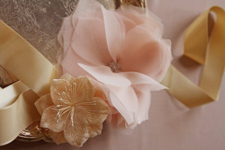 Image of a handmade chiffon and tulle flower
