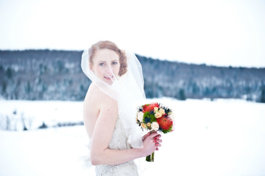 portrait of a snowy bride
