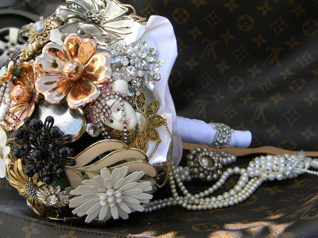 close-up of a brooch bouquete
