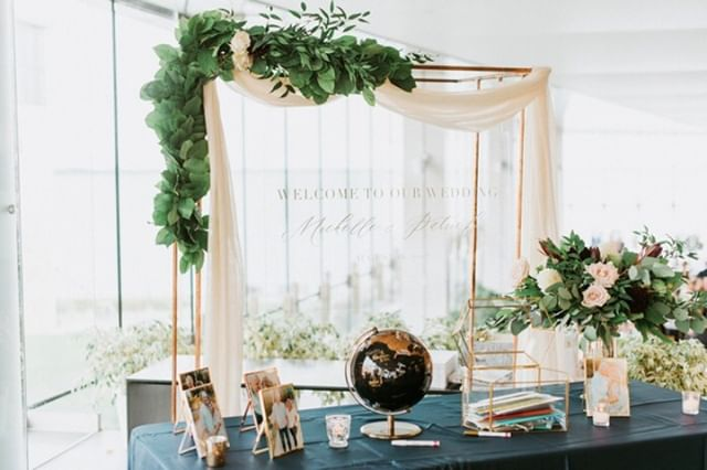 Here's how we styled that same globe guest book we posted yesterday: nice and pretty with a copper frame and romantic cloth and greenery draping, florals, engagement photos and the card box. We call this area a Welcome Table. What are you putting on your Welcome Table?⠀ .⠀ .⠀ .⠀ Design, Partial Planning, Coordination: @frid.events // Photographer: @laurakellyphoto // Ceremony: @stgeorgescathedral // Reception: Isabel Bader Center // Transportation: @executrans @marshalllimobus // Stationery: @lafabere // Entertainment: @strikeapose.pb // Cake: @cakes_amy // Beauty: @hairdesignsbycourtney17 @ohsoprettyco // Florals: @lspdesigns⠀ .⠀ .⠀ .⠀ #weddingplanner #instawed #engaged #ottawa #fridevents #weddingphotographer #weddinginvitations #bridetobe #ottawawedding #marriage #weddinginspiration #weddingday #ontariobridesfeature #realwedding #canadianbride #ottawaweddings #quebecweddings #stylemepretty #weddinghair #ottawaweddingplanner #ottawaeventplanner #ottawabride #eventplanner #rusticwedding #industrialwedding #weddingblog #weddingvenues #junebugweddings #wedluxe #weddingbells⠀
