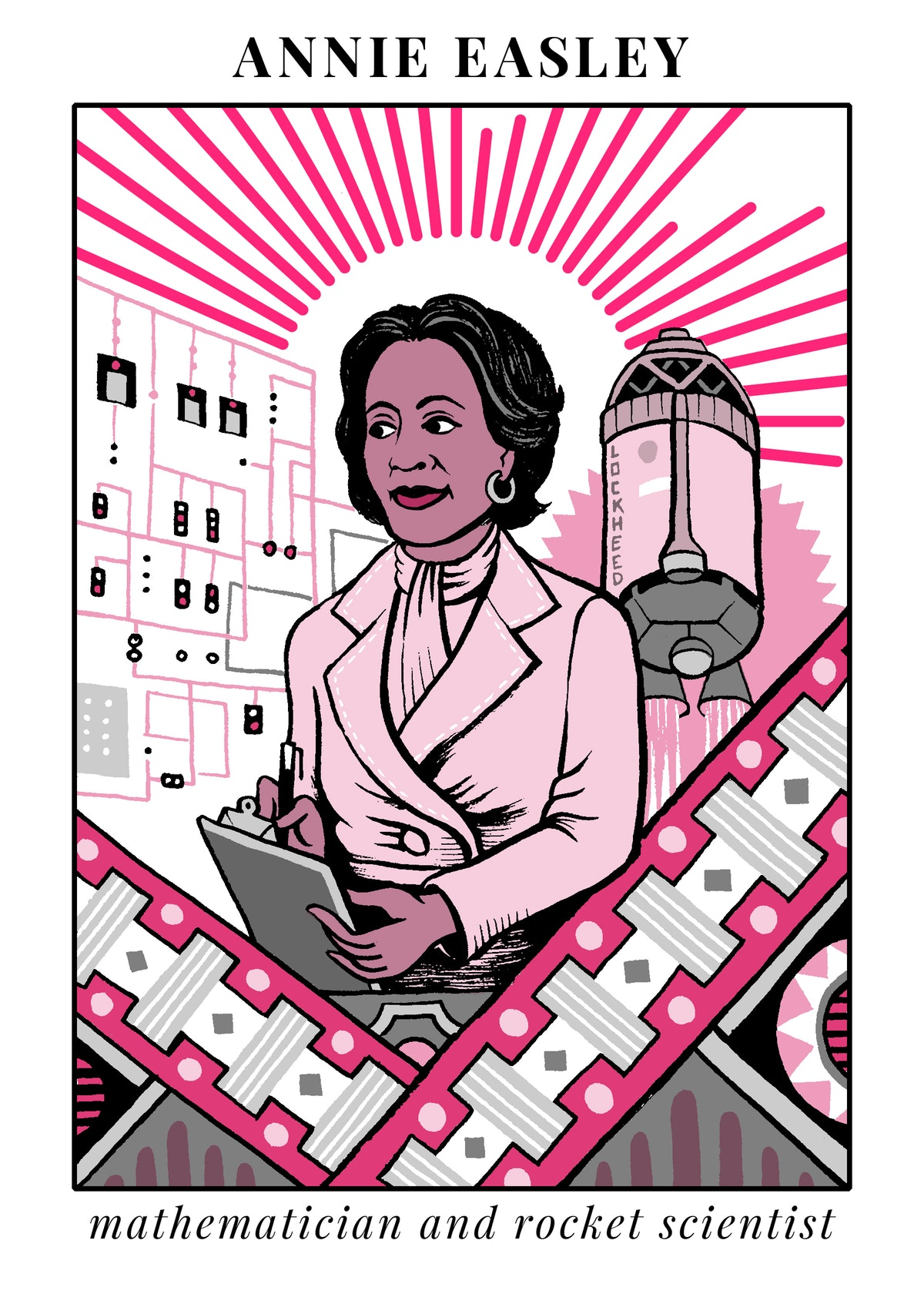 Annie Easley - Annie J. Easley was a female African-American computer scientist, mathematician, and rocket scientist. She worked for the Lewis Research Center of the National Aeronautics and Space Administration and its predecessor, the National Advisory Committee for Aeronautics. Read more about her here.