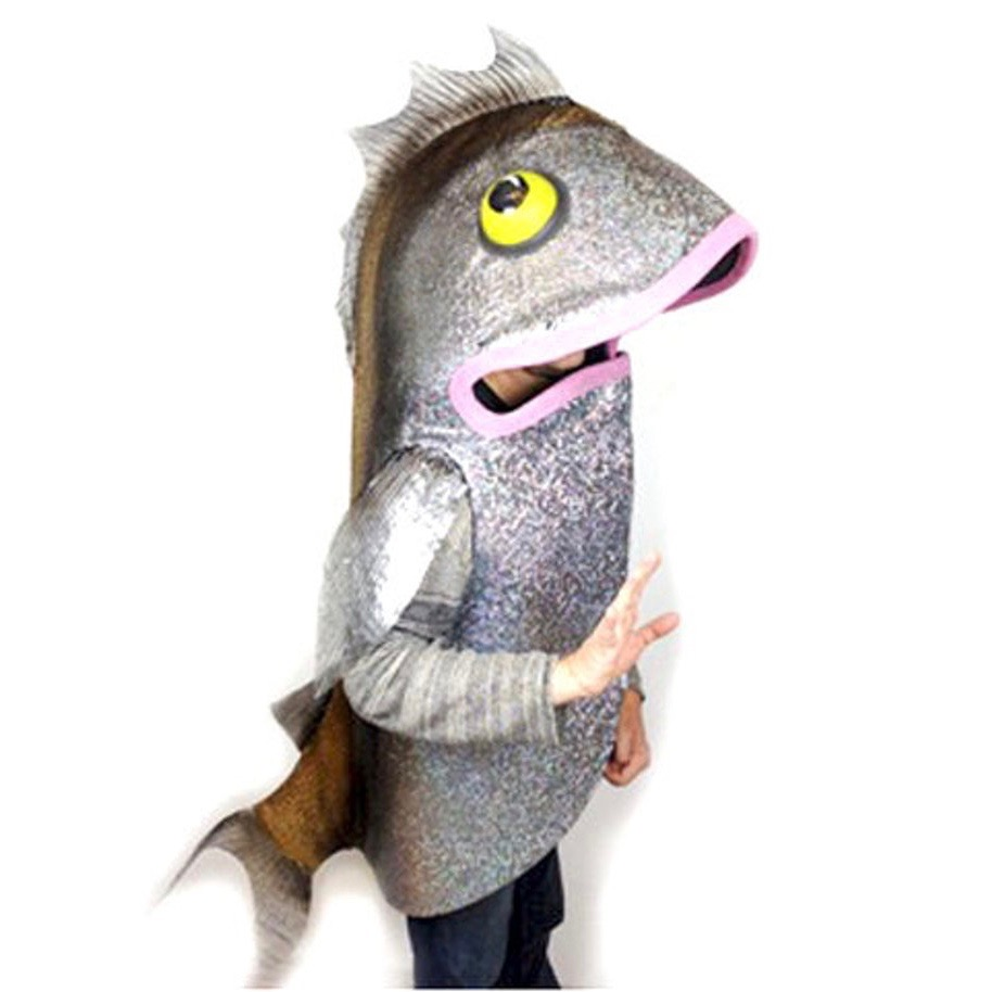 Picture from  https://www.etsy.com/ie/listing/233544461/fish-costume-adult-size-handmade-eco , where one may purchase a beautiful, handmade fish costume. Apparently.