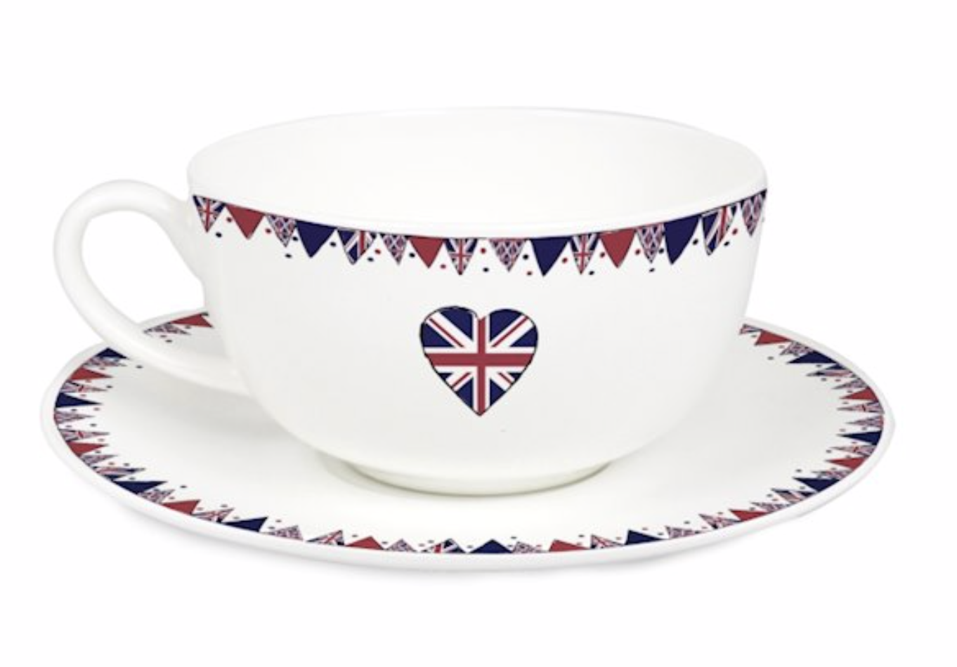 Picture source:  https://www.specialmoment.co.uk/union-jack-bunting-teacup-and-saucer.aspx  - where this cup and saucer set is available for £10.99