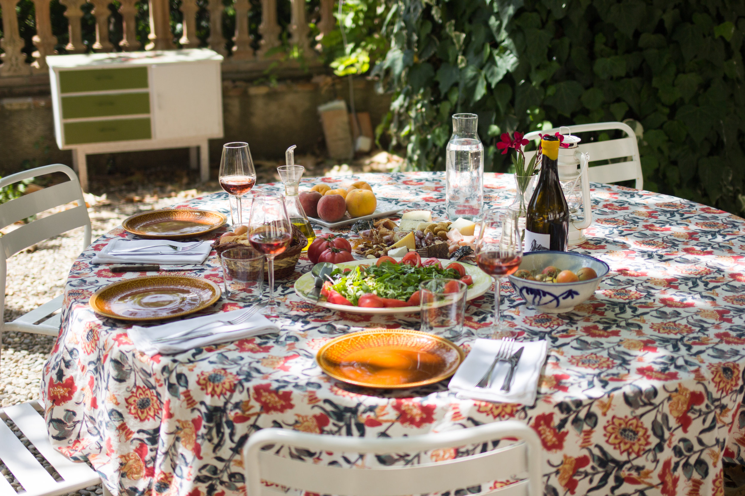 set table of locally sourced Catalan food made on demand