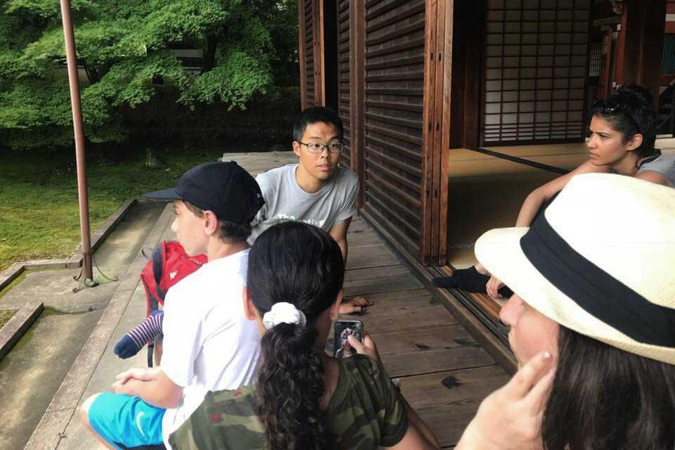 On the verandah at Komyo-in