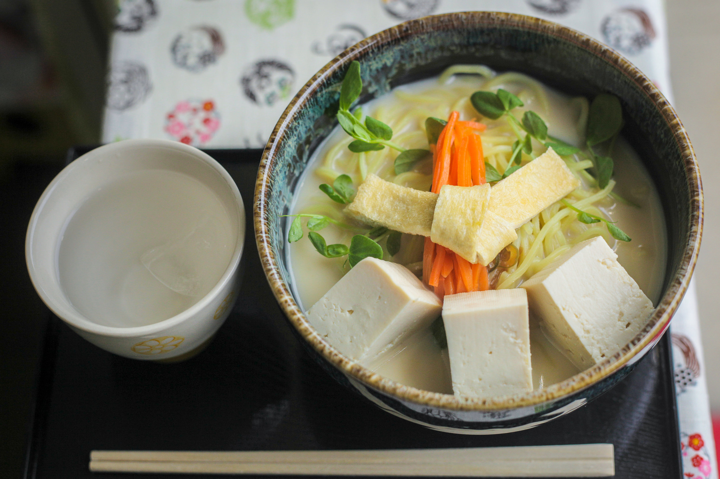 Vegans: Book your lunch - Hana-san's agreed to make her homemade tofu ramen or udon noodles just for Craft Tabby guests. Her broth is vegan-friendly because she uses only kombu seaweed and soybean milk, and she tops the noodles with seasonal vegetables and fresh tofu from a local tofu maker. The noodles are served cold in the summer and piping hot in the cooler months. ¥1,200, comes with soft serve ice cream after. Hana-san can only serve up to 3 persons per day. Let us know at least 1-2 days beforehand so that she can shop for ingredients.