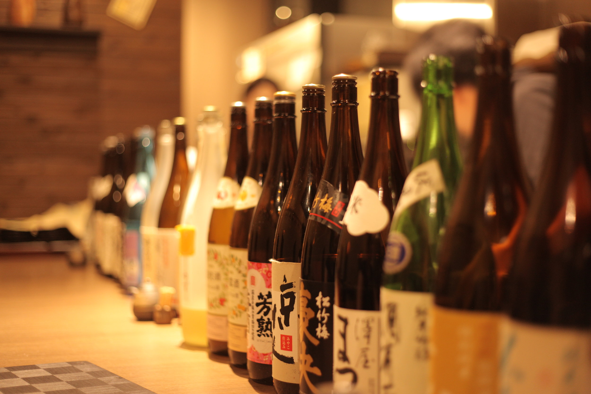 Over 80 different bottles of sake are open at any time for tasting