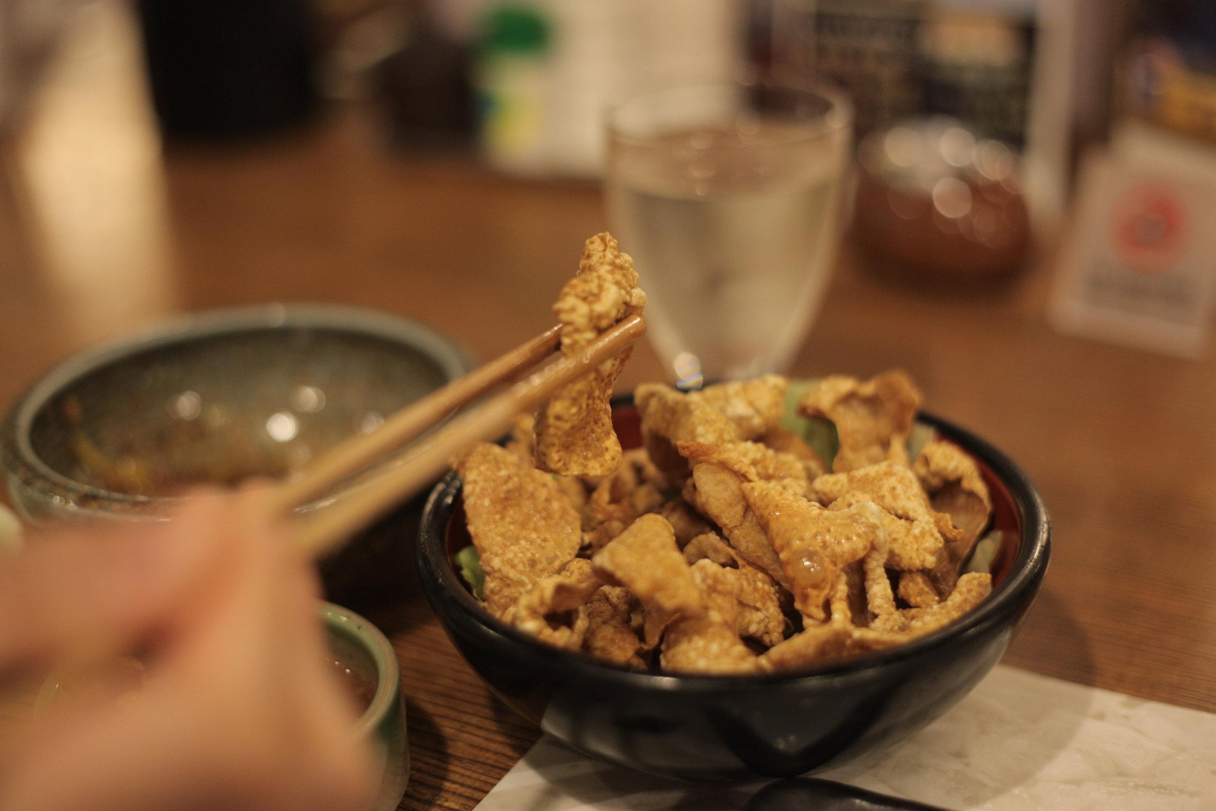 Crispy chicken skin at Torisei