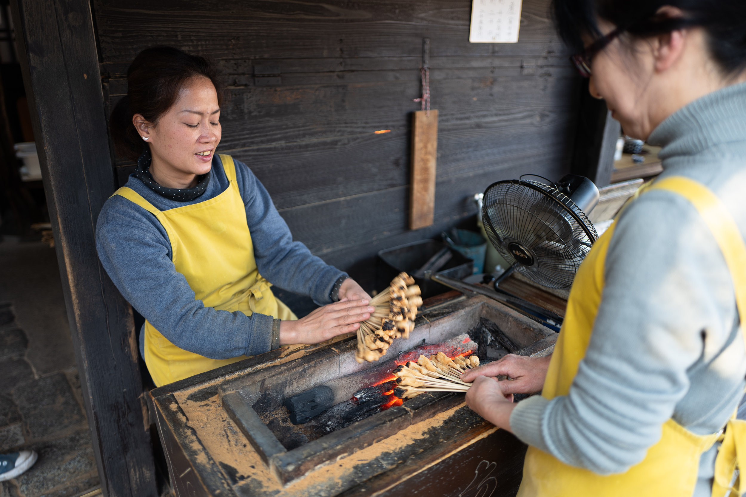The ladies at Ichiwa grilling aburimochi