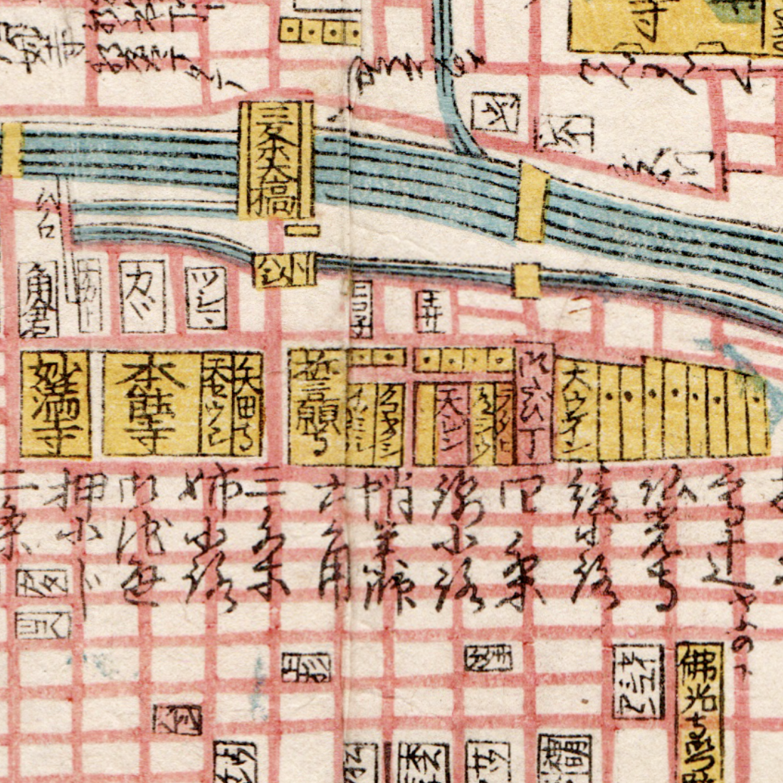 Takoyakushi Temple (marked here as タコヤクシ) still stands, but most of the temples (coloured yellow) on Teramachi Street (Temple Street) have disappeared or have had their lands shrunken.  Honno-ji 本能寺, marked here as being north of Sanjo-dori Avenue (三条通), has since moved south. The land it used to be on became Kyoto City Hall in 1927.