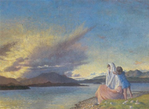Mother and Child on the Shore off an Irish lough (Oil on board), by Sine Mackinnon (1901–1997)