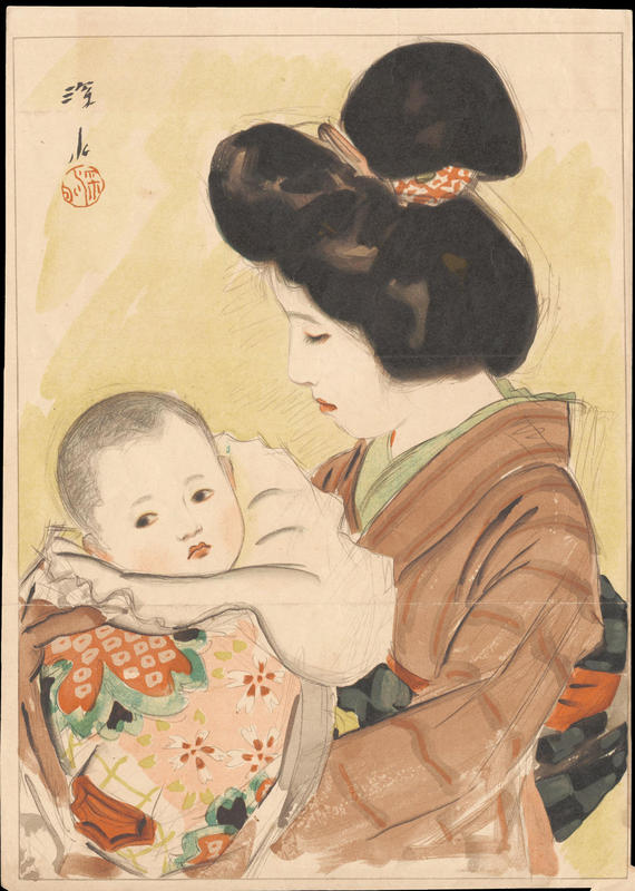 """""""Mother and Child,"""" painting on paper, Shinsui Ito (1898-1972)"""