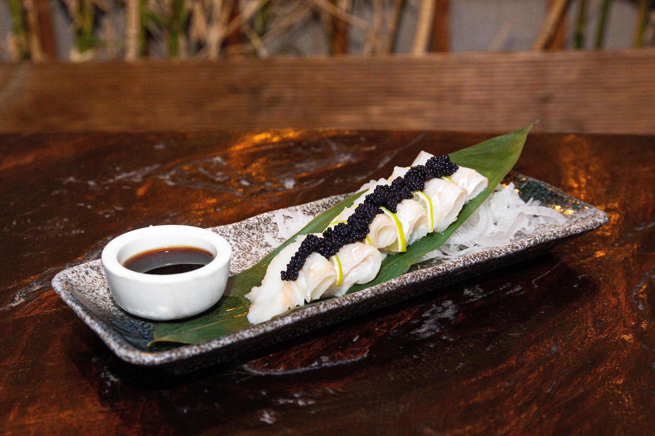 Halibut sashimi with caviar