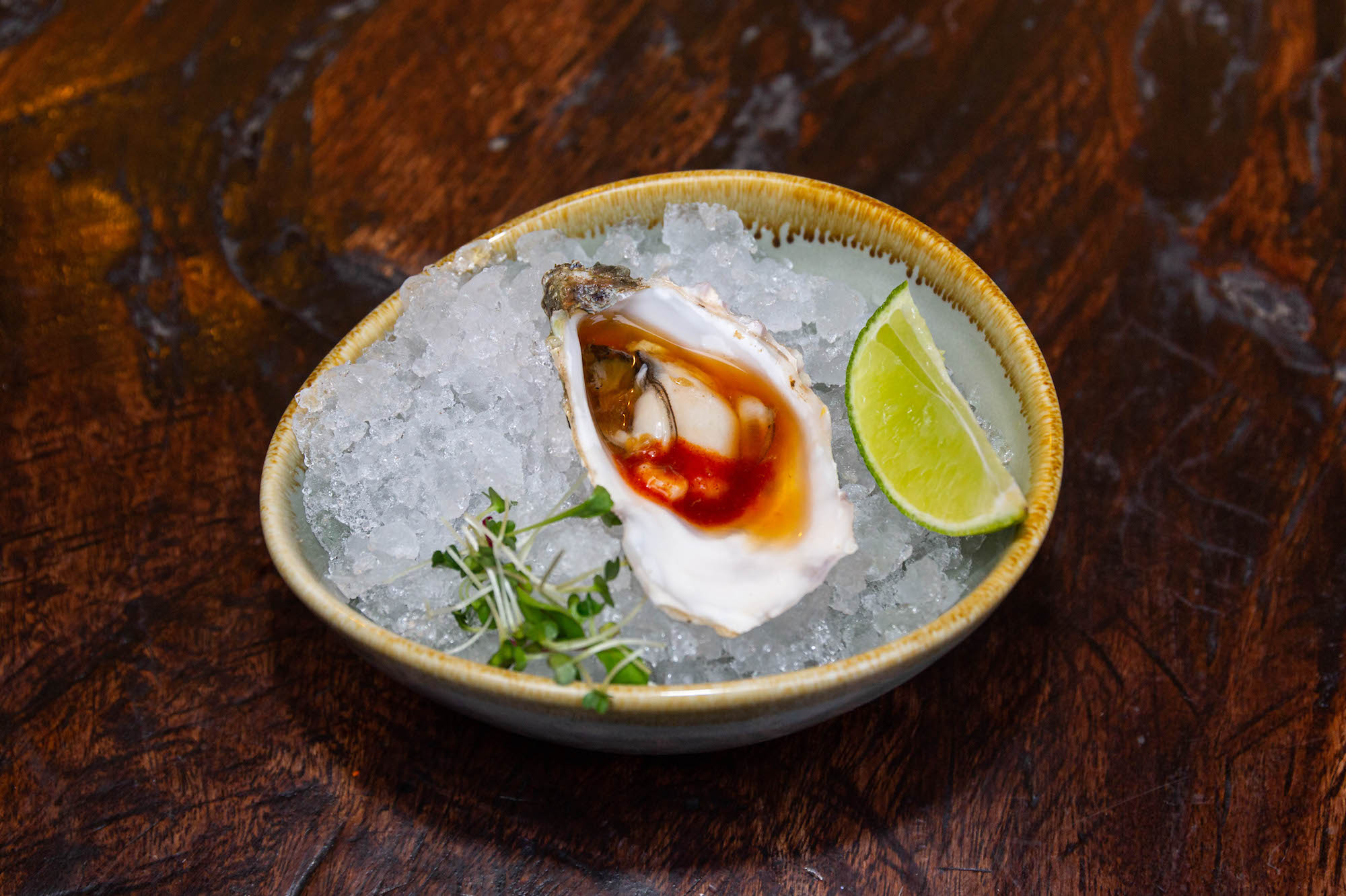 Oyster with kimchee and ponzu sauce