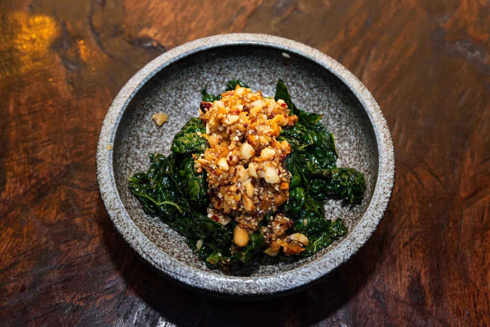 Black kale salad with sesame and peanut rayu