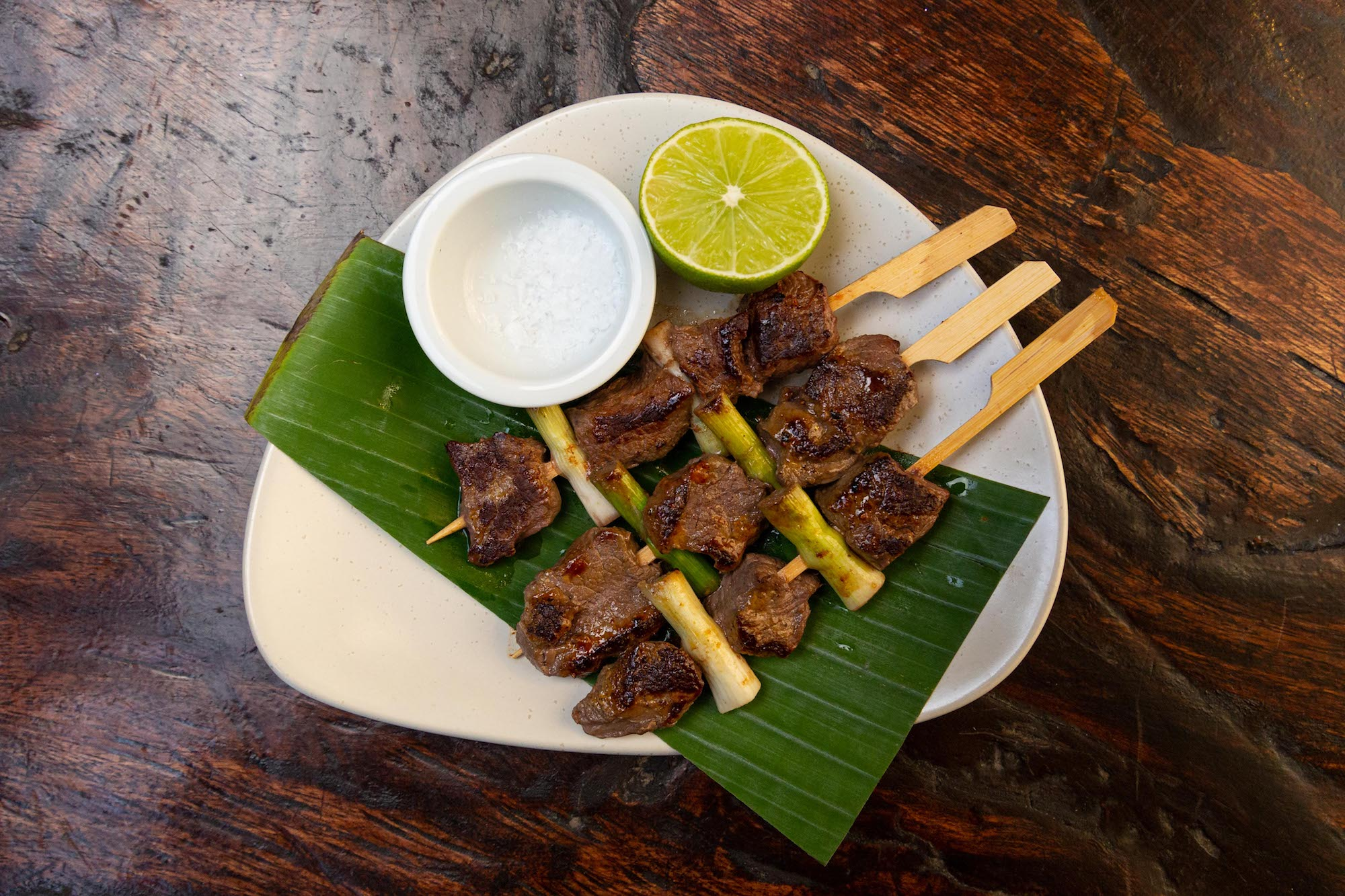 Chargrilled Venison with green onion, lime and rock salt