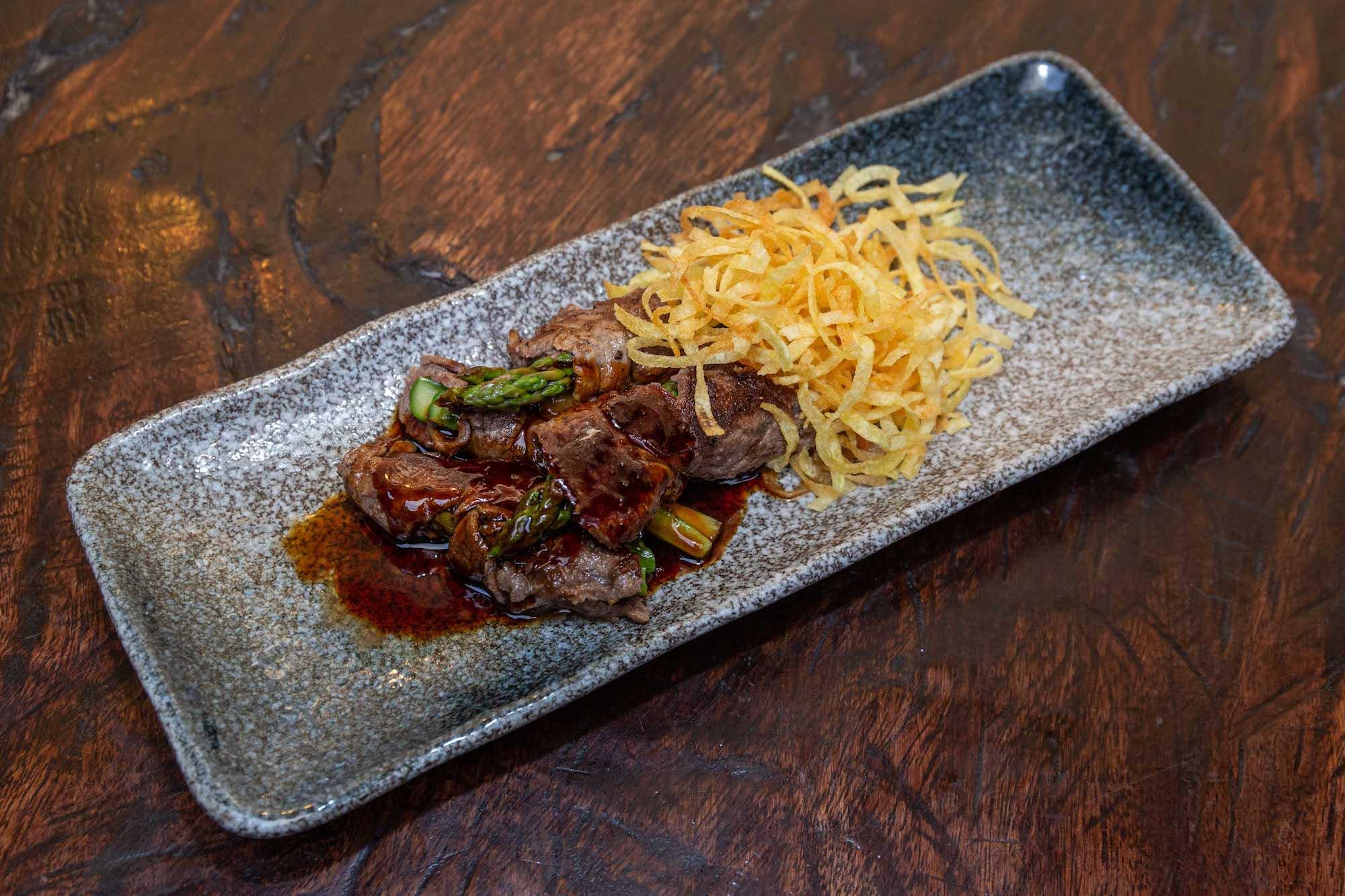 Beef and Gruyere Asparamaki