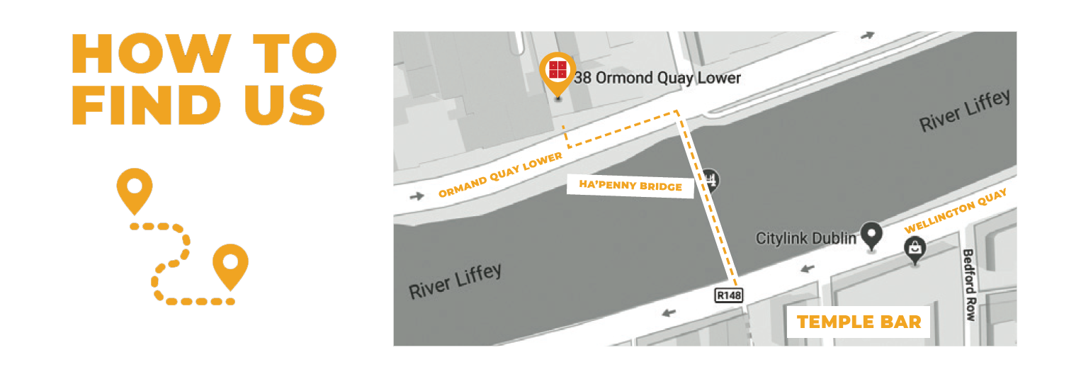 Coming over to North City from Temple Bar? Here's how to find us!