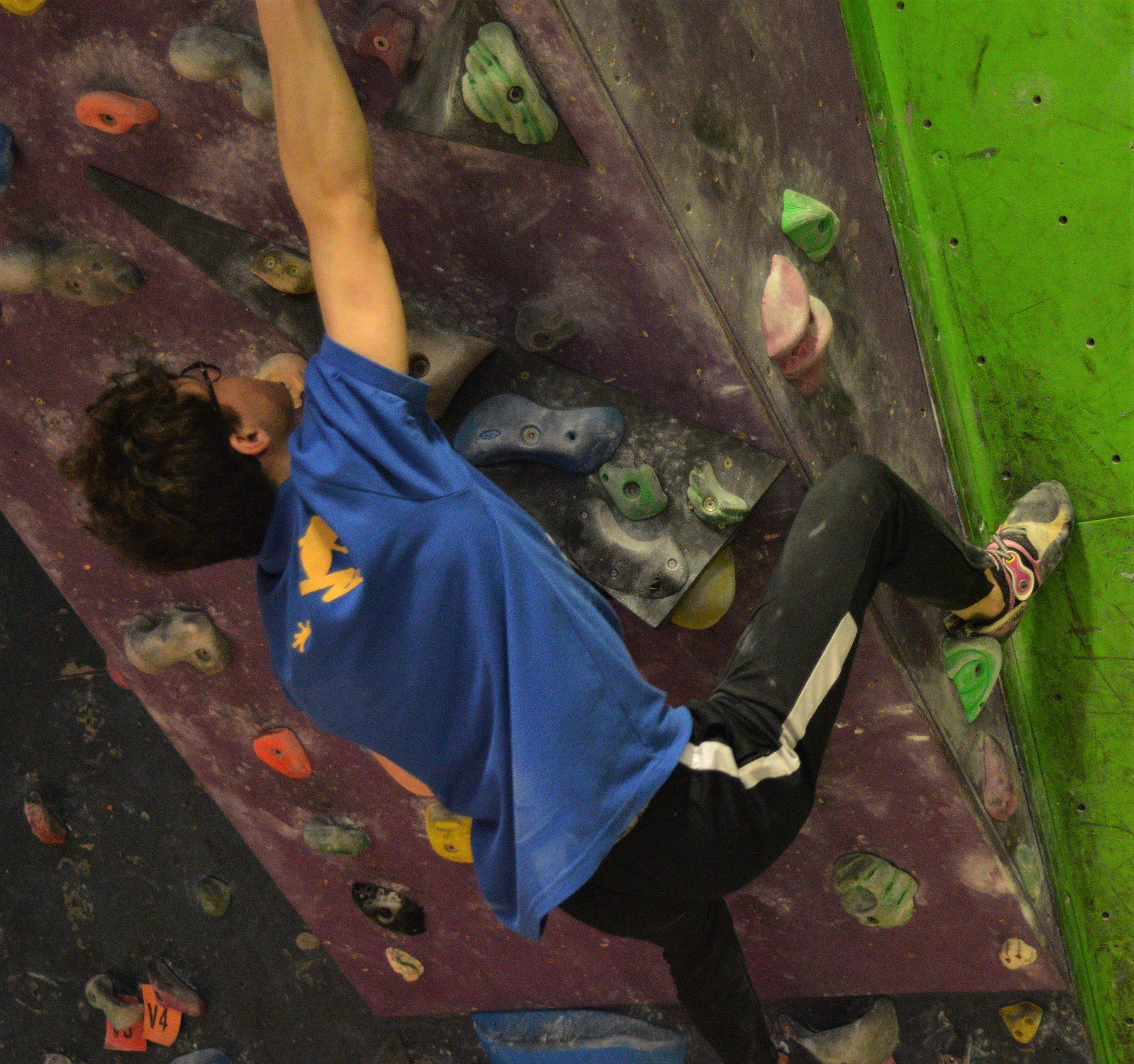 Isaac demonstrating a heel hook. Image credit: G. Bull