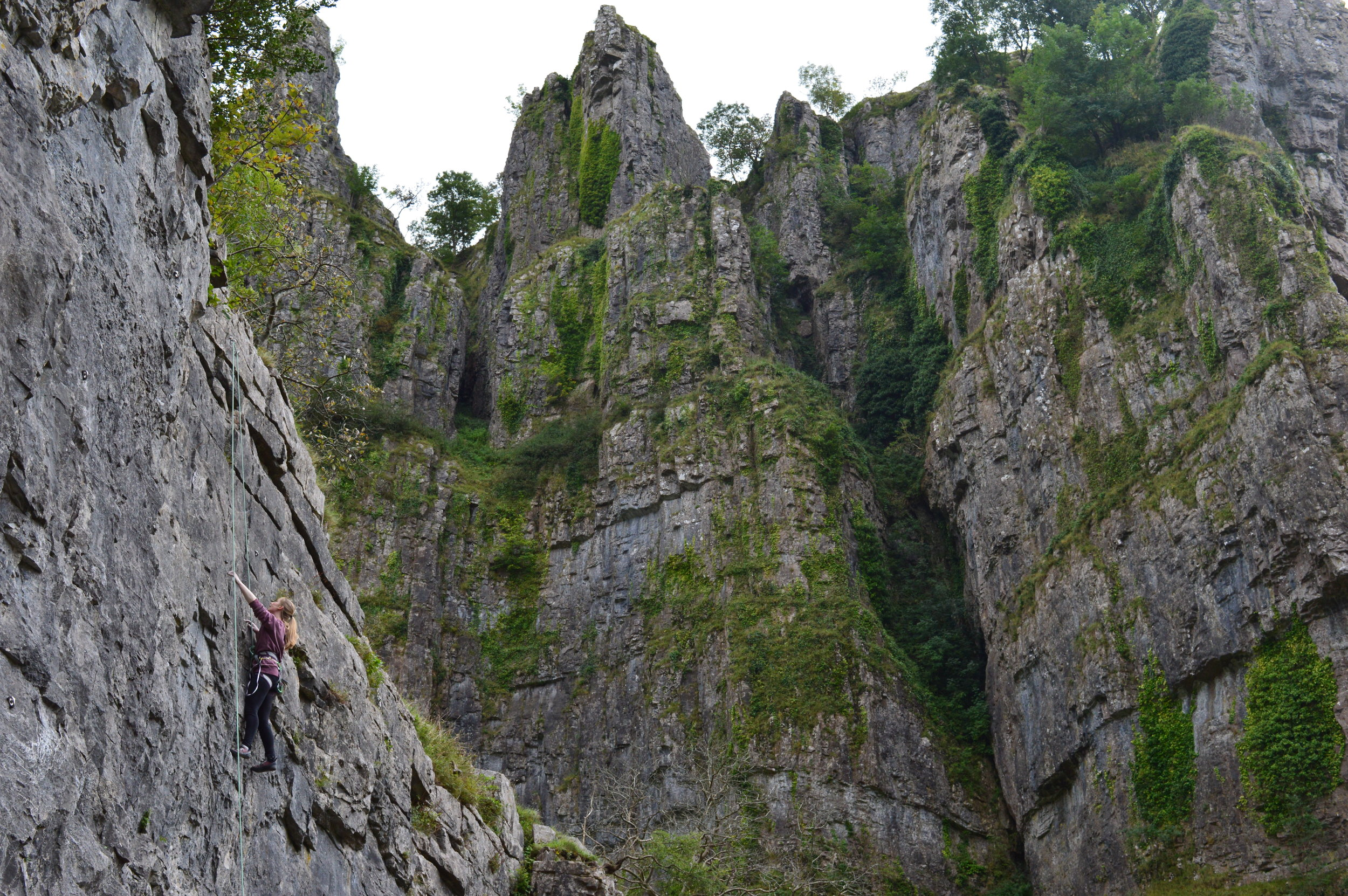 You don't have to go far to find awesome places to climb. This is Cheddar Gorge, only an hour and a half drive from Worcester. But you can't climb in this beautiful place without someone who can lead.  Photo by Georgie Bull.