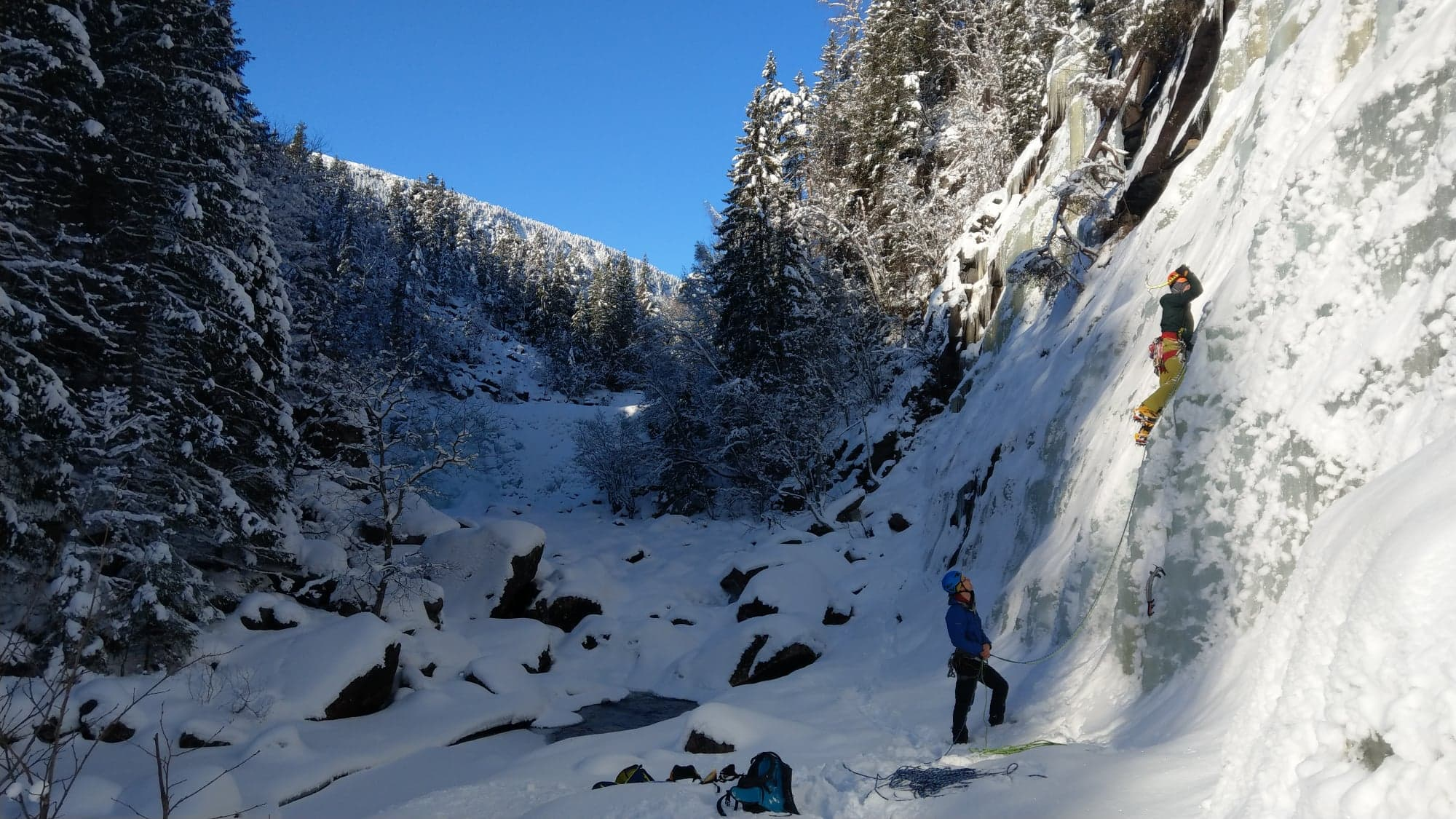 Ice-climbing in Norway.  Photo provided by Dave King. Used with permission.