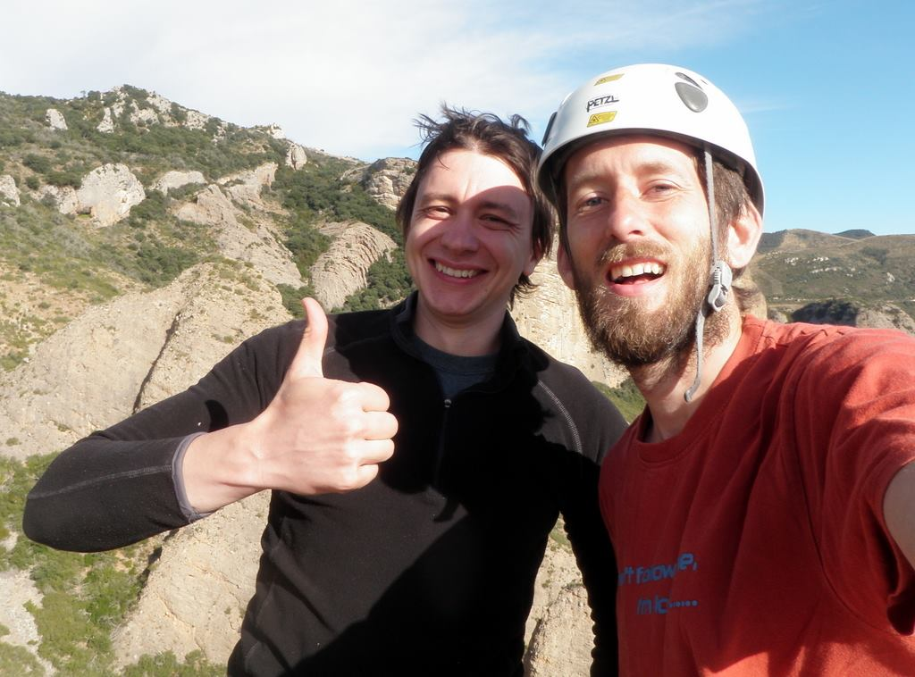 Windle and Ali (right) in Riglos, 100m up!  Photo by Ali Palmer. Used with permission.