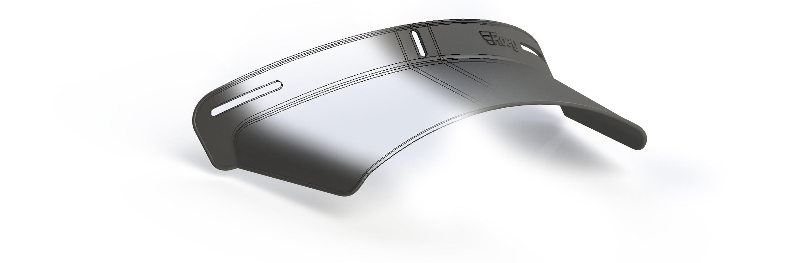 3D model of peak for the Peruna Helmet modeled in Solidworks