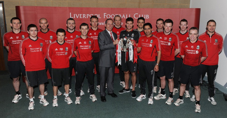 The medical and fitness team with skipper Steven Gerrard and the Carling Cup