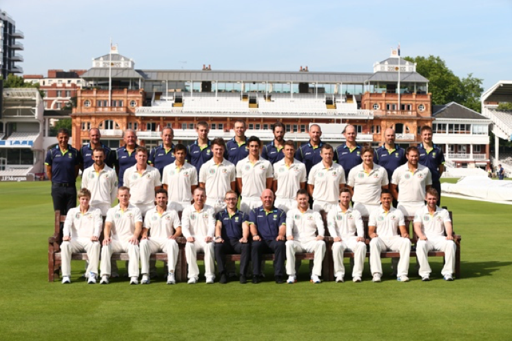 The full Ashes squad and support staff at Lords 2013