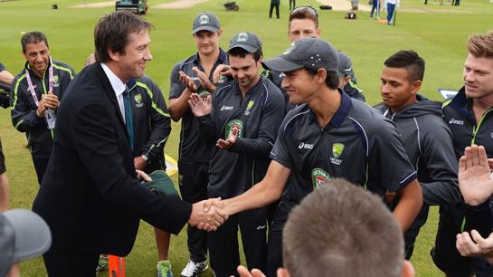 Ashton Agar receiving his Baggy Green from bowling legend, Glenn McGrath