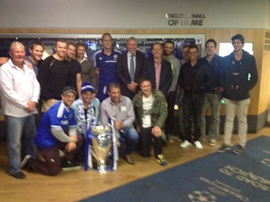 with Mark Schwarzer and the voice of football Martin Tyler after Chelsea v Hull City at Stamford Bridge