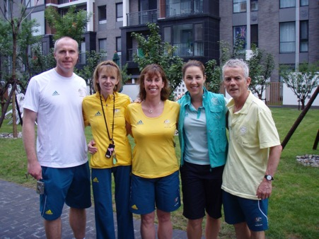 Sue White (middle) with other OPSMC members of the Australian Olympic medical team, Beijing 2008.
