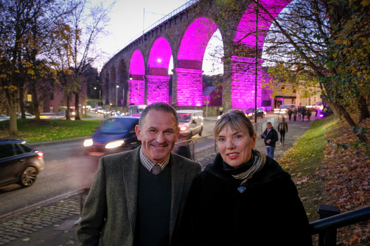 Photo caption: Allan Cook (left) and Sarah Coop (right) in front of the Railway Arches during Lumiere 2017, which will be home to a permanent legacy installation