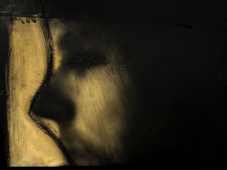 Virgilio Rospigliosi. Studio per riflessione (Archetipi Psichici Visivi), 1995©. Cm 20x30, acrilico, cera su fotografia analogica. Dettaglio.jpg